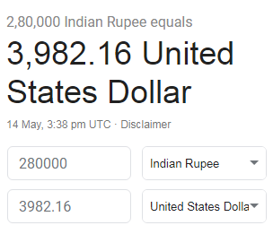 What Is Rs 2 8 Lakh To Usd Quora