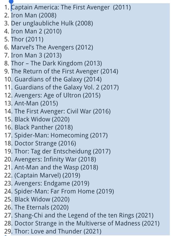 Marvel Reihenfolge