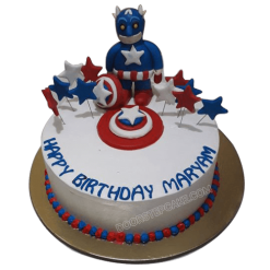 Order A Birthday Cake Online From YummyCake Captain America Barbie Doll