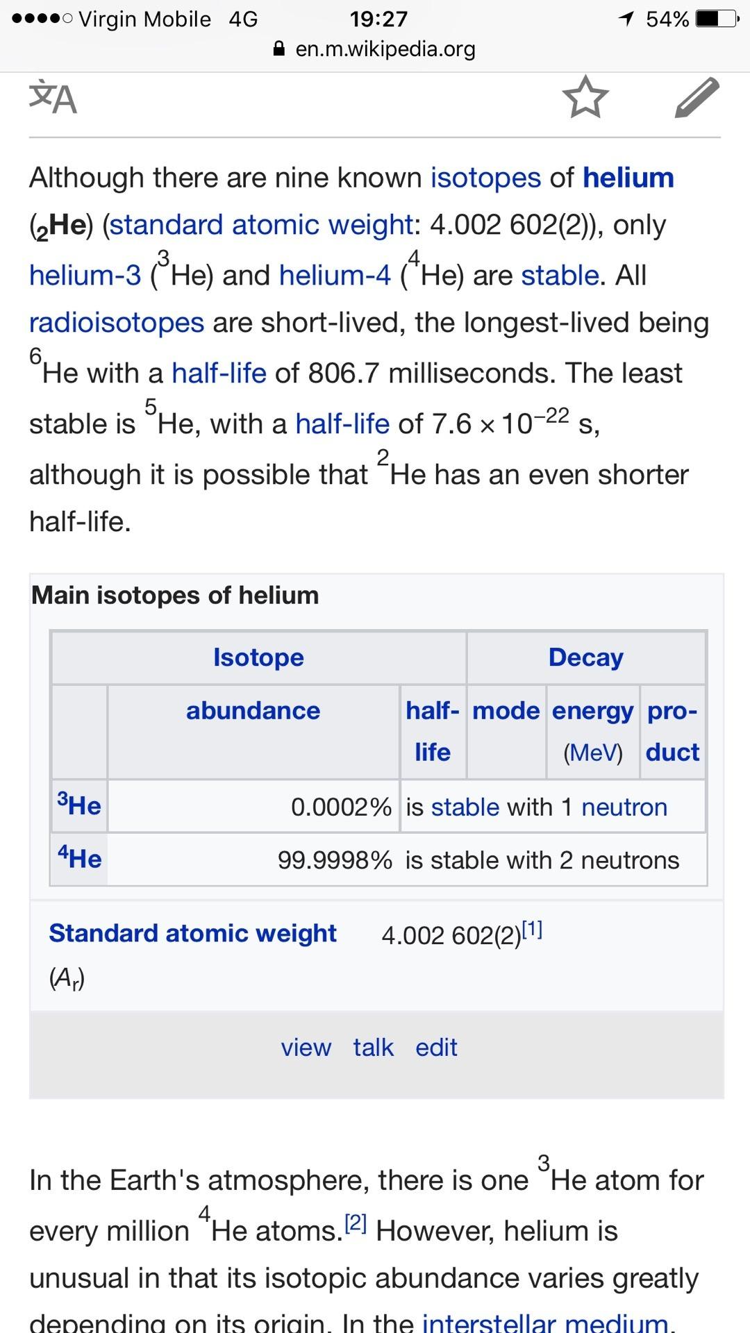 Helium isotopes abundance. helium. 2019-02-25