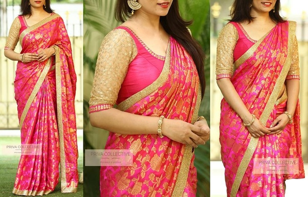 d1ba13ac203186 What blouse color will match a pink colored saree? - Quora