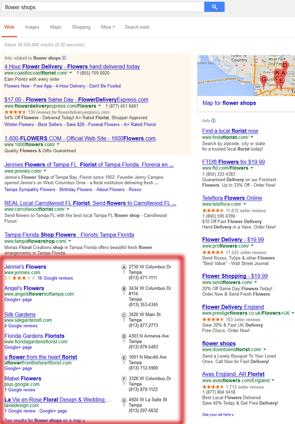 What search terms would you use to find a local flower shop near you