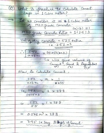 Following Is The Procedure For Calculating No Of Cement Bags In 1 Cubic Meter Concrete