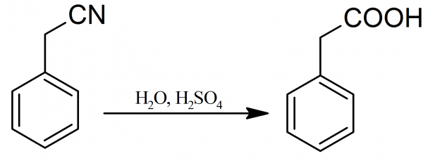 What products are formed on hydrolysis of benzyl cyanide