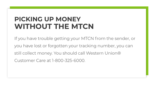 Can you receive Western Union without a tracking number? - Quora
