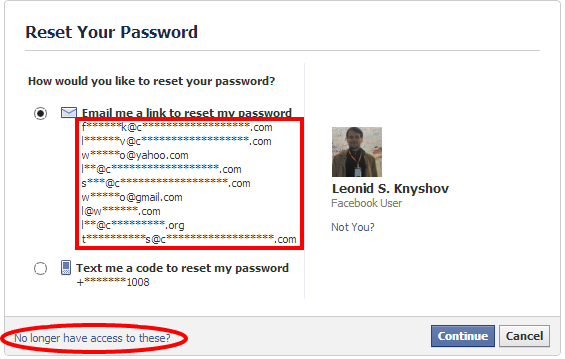 Lost my facebook login information