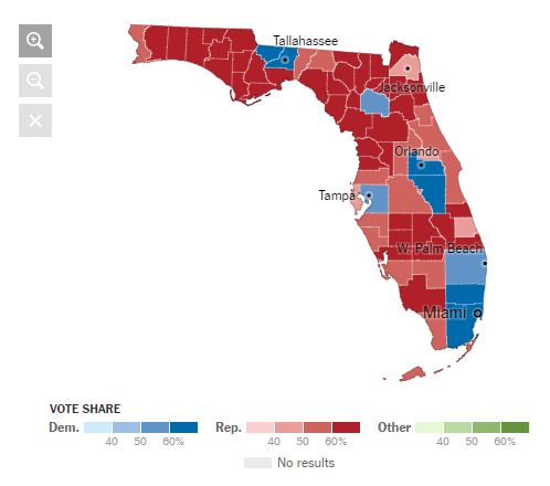in comparison this is the electoral map for florida in with electors map