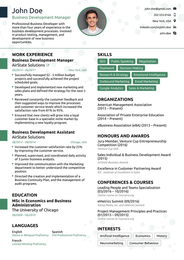 What does an ideal one page resume look like? - Quora