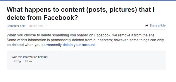 how to find a deleted facebook post