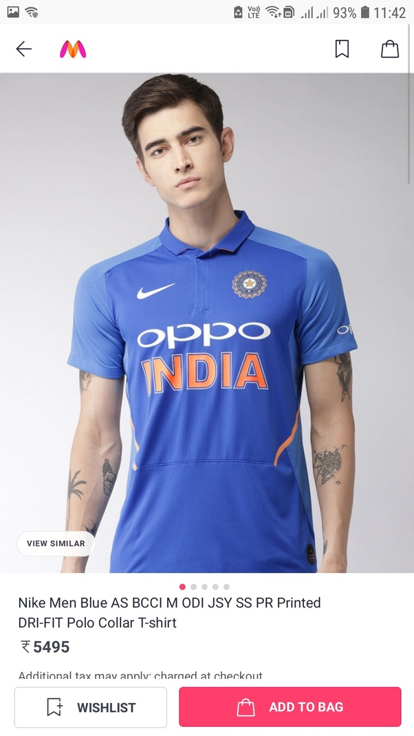 Indian cricket team t shirt for world cup  online