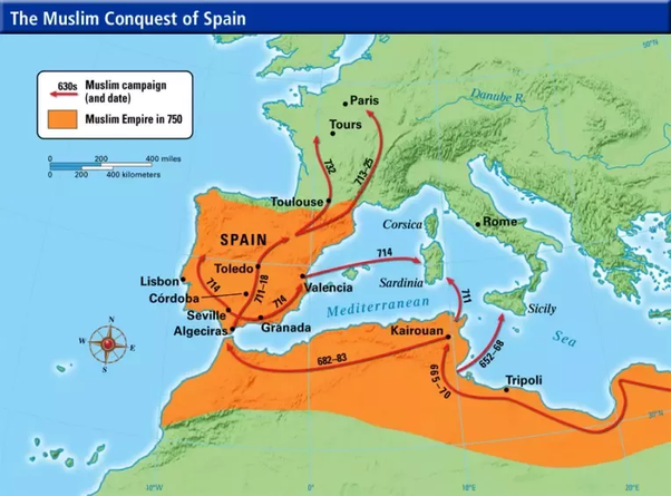 Map Of Spain Under Moorish Rule.When Did The Moors Rule Europe And How Did It Happen Quora