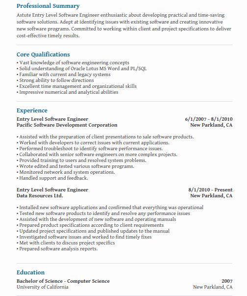 What do tech companies look for in an entry level resume for a ...