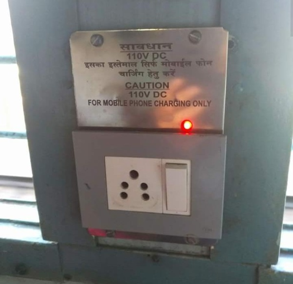 Charging points in Indian trains are 110V D C but my mobile