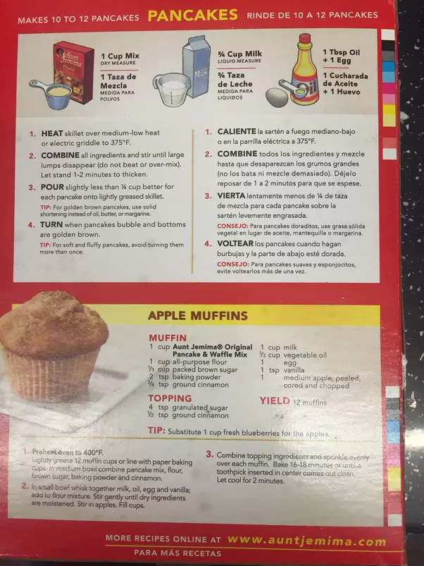 What are the instructions for the aunt jemima pancake mix quora ccuart