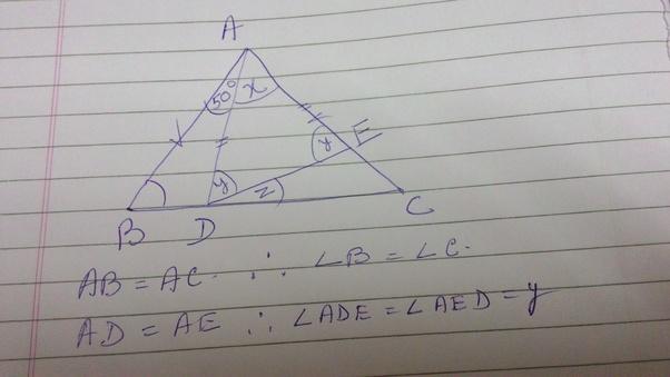 �y�e����ab�`e�/d���yab_InthetriangleABC,AB=AC.DisapointonsideBCsothatangleBAD=50.AndEisa