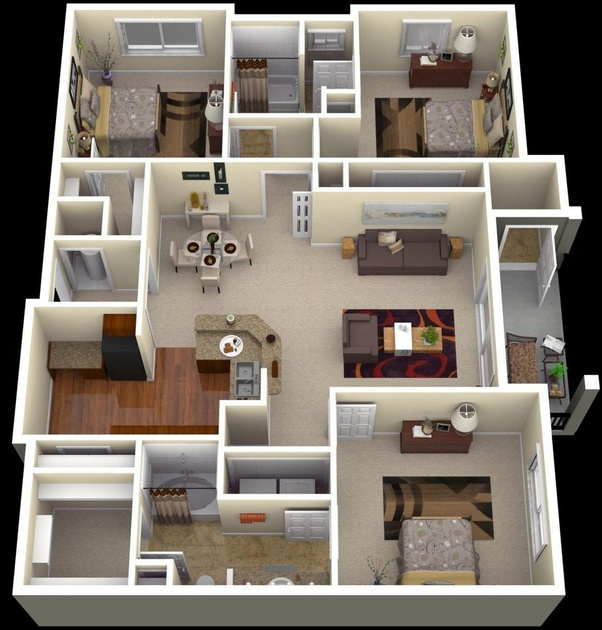 What Are Some Good Layout Of A 3 Bhk Home Quora