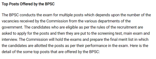 What are the posts under bpsc? - Quora