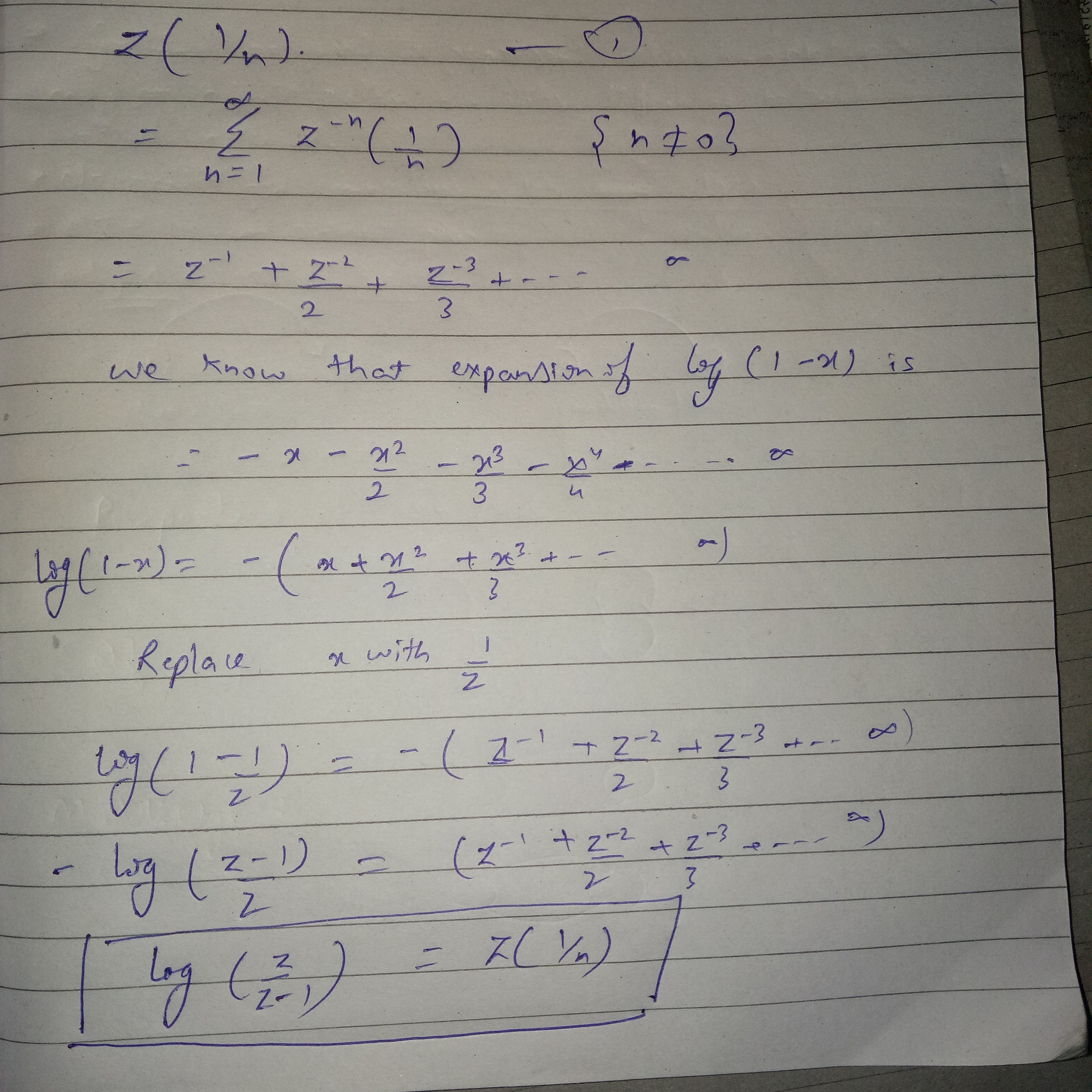 What is the z transform of (1/n)? - Quora