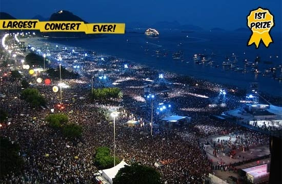 1 Rod Stewart At Copacabana Beach 1994 3500000 A New Years Celebration Featuring With The Largest Concert Crowd Ever