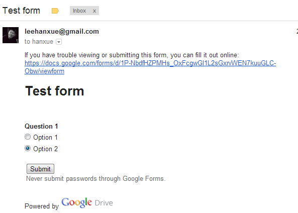 Is it possible to insert the HTML code of a Google Form into a Gmail ...