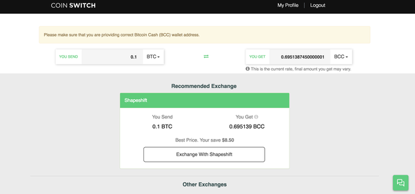 which cryptocurrency exchange accepts bcc