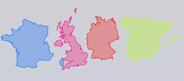 why does england scotland and wales look so big compared to spain france or germany on maps quora