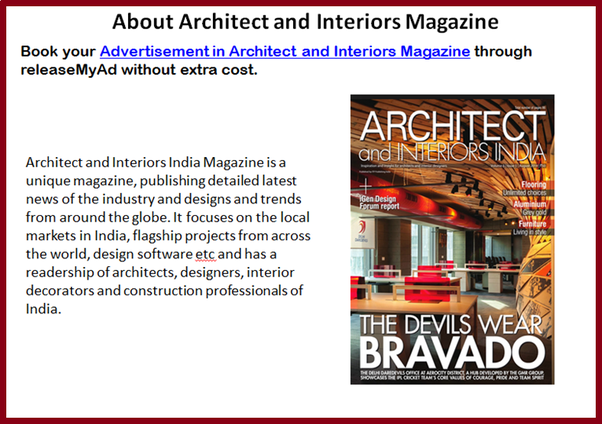 Yes You Can Book Architect And Interiors India Magazine Advertisements Online Through Ad Booking Portal Of ReleaseMyAd Go To Advertising