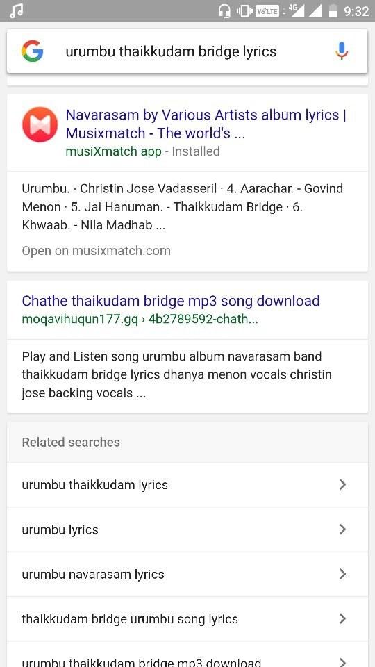 Lyric find a song using lyrics : From where can I find lyrics of song 'Urumbu' by Thaikkudam bridge ...