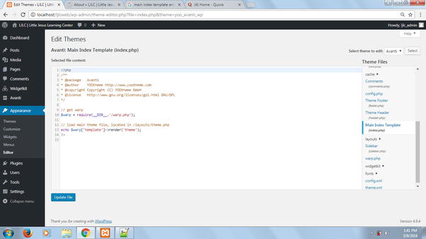 What should I do if I have a blank main index template (index PHP ...