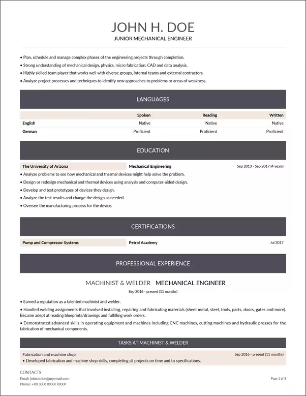 what are some good modern resume examples for mechanical engineer