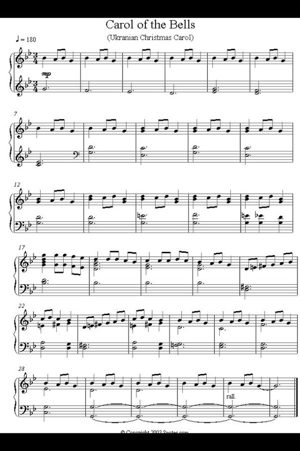 Piano piano sheet music with letters : What are the letter notes to Carol of the Bells on piano? - Quora