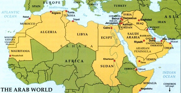 Is libya part of the middle east quora map of the arab world including libya note turkey and iran are missing publicscrutiny