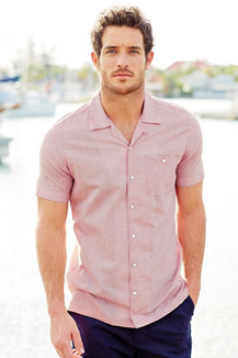grey pants with pink shirt