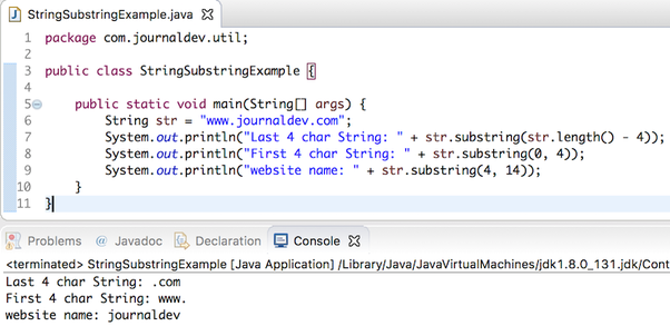 How does a substring() of string class internally works in Java? - Quora