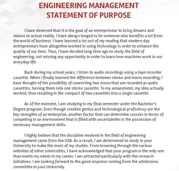 Engineering management statement of purpose