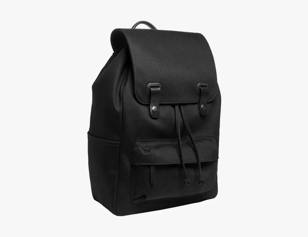 This snap backpack has a 100 percent cotton exterior and leather details.  Originally 58990c904956d