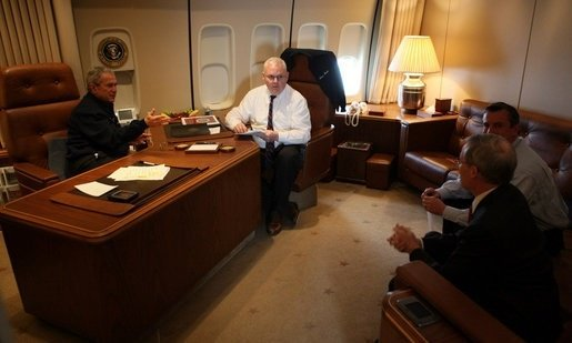 office air force 1. President George Bush In His Office On Air Force One. 1 D