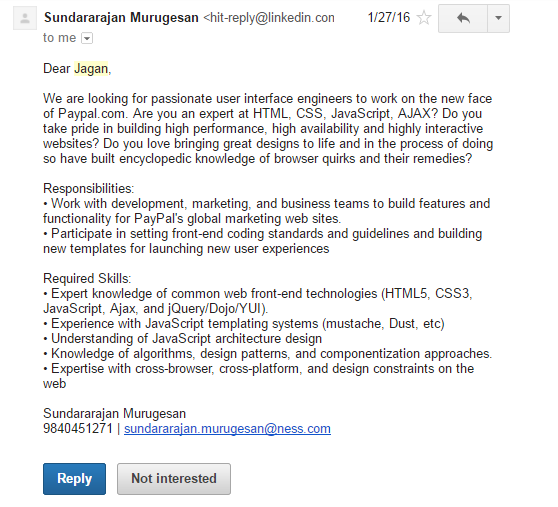 If i send an email to a recruiter what should i write quora here is sample interview request received from linkedin m4hsunfo