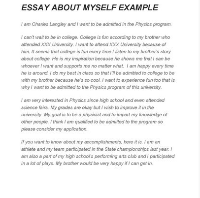 Since i have to write an essay about myself for a college interview