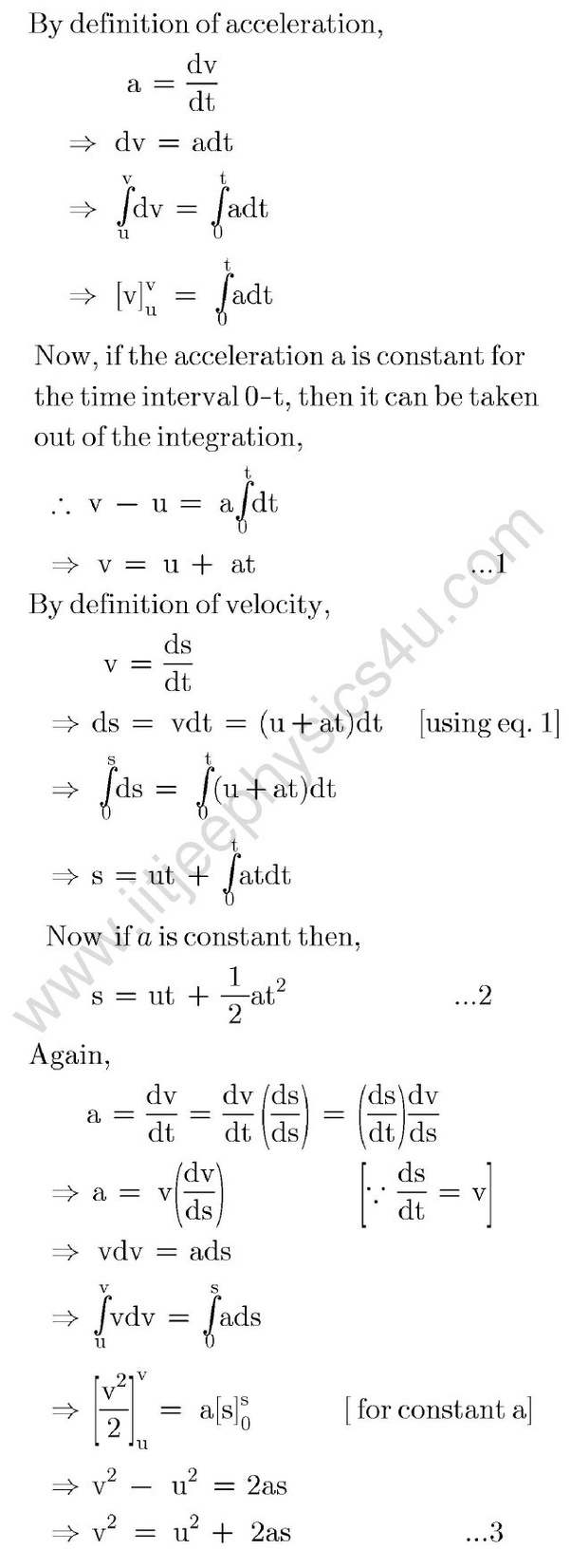 How To Derive The Three Equations Of Motion Quora