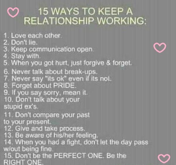 A keep ways relationship going to Tips for