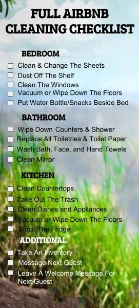 Airbnb cleaning checklist
