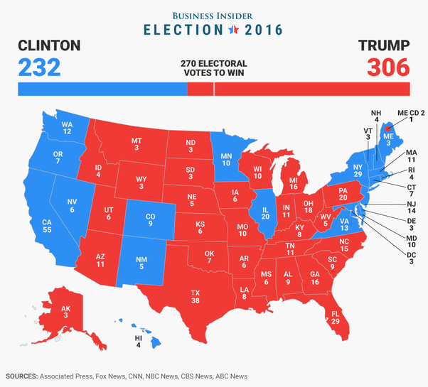 the democrats control the west and upper east coasts and the republicans control the heartland map based on 2016 election