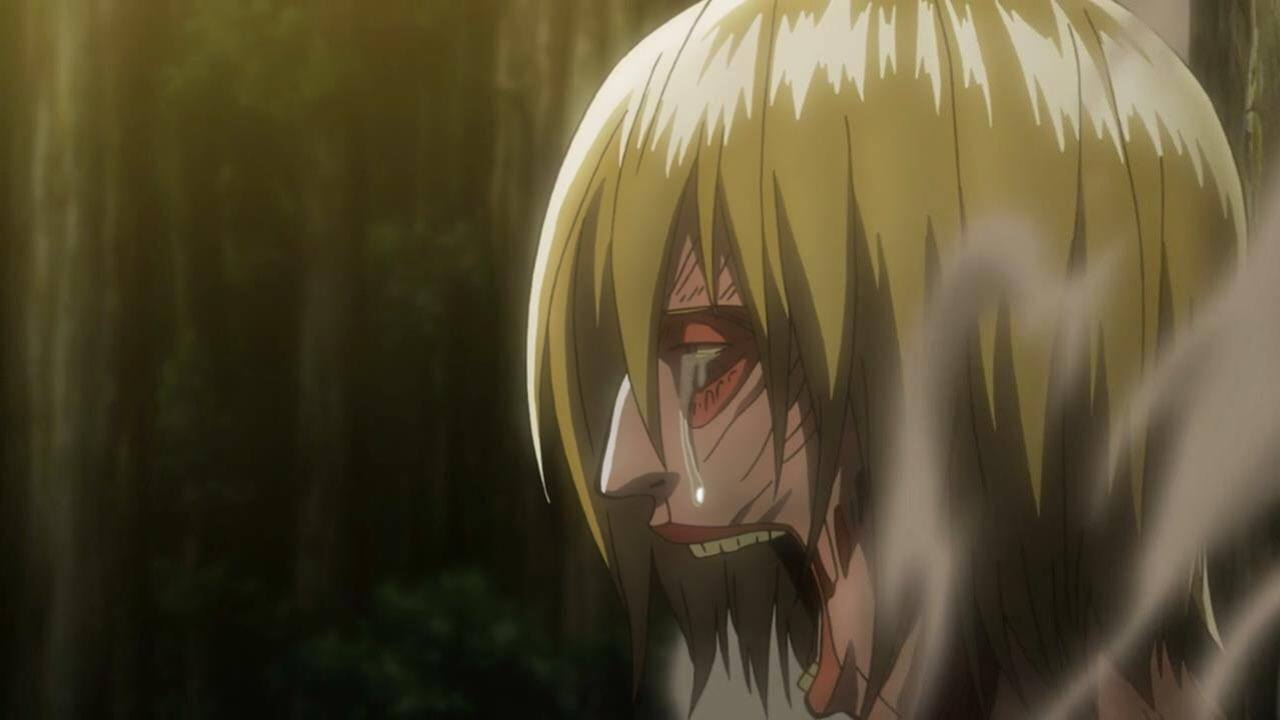Why was Annie crying when Mikasa and Levi took Eren back