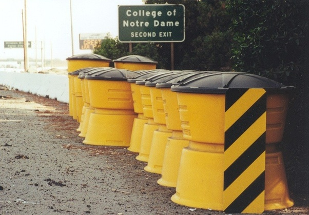 In America, do you really have those yellow barrels full of water on