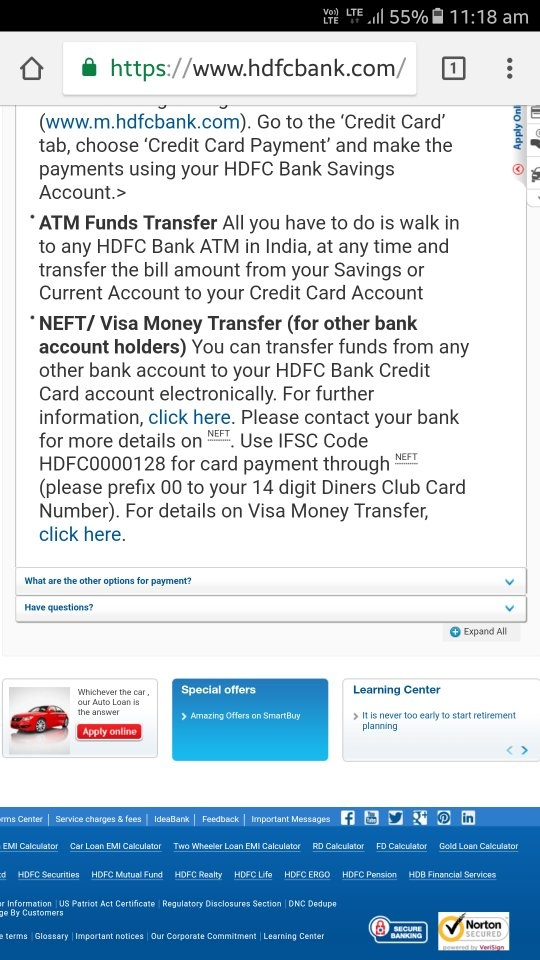can i pay hdfc credit card bill from icici net banking