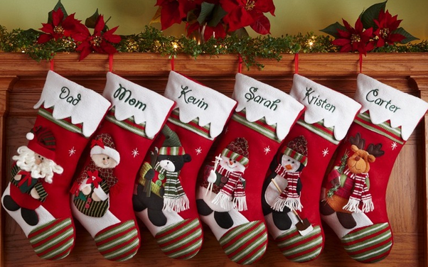 everybody knows christmas stockings are empty sock shaped bags that are hanged on christmas eve for santa to fill with presents