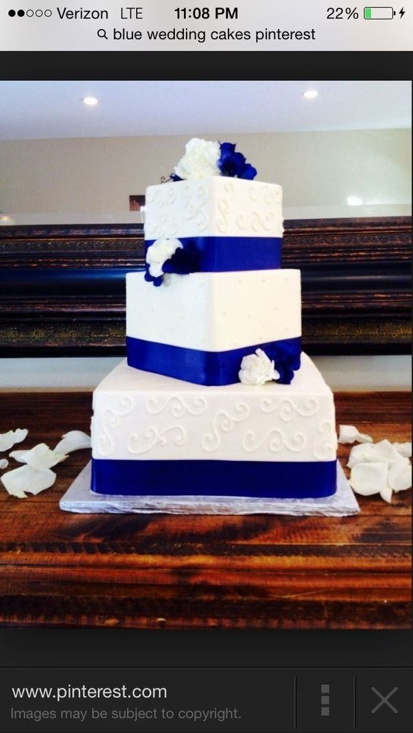 What are some ideas for making a wedding cake with purple and blue ...