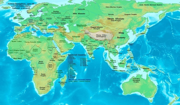 How did the borders of east and southeast asia look like in circa heres a map of 16th century borders from world history maps by thomas lessman gumiabroncs Choice Image