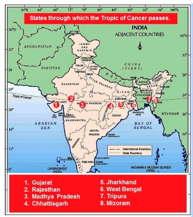 How many and which cities are on tropic of cancer quora tropic of cancer india passes through 8 states they are mentioned below gumiabroncs Images
